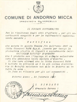 Il sindaco di Andorno Micca certifica la bontà dei prodotti del Liquorificio Rapa