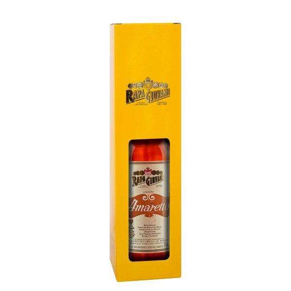 Bottiglia di Amaretto nella scatola regalo