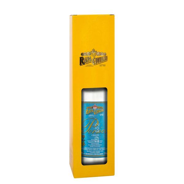 Bottiglia di liquore Persico nella scatola regalo