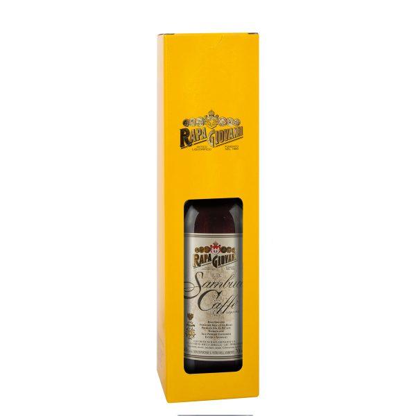 Bottiglia di Sambuca caffè nella scatola regalo
