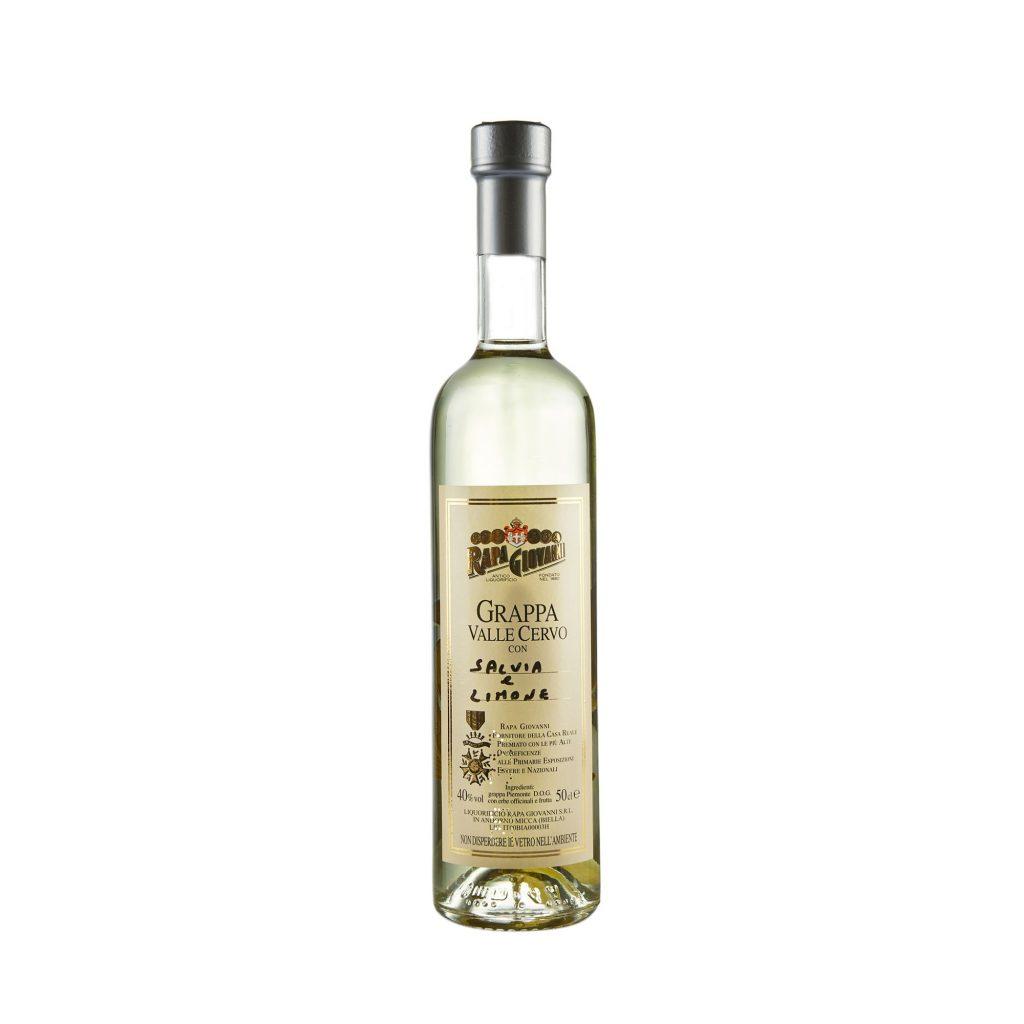 Bottiglia di Grappa Valle Cervo alla Salvia e Limone